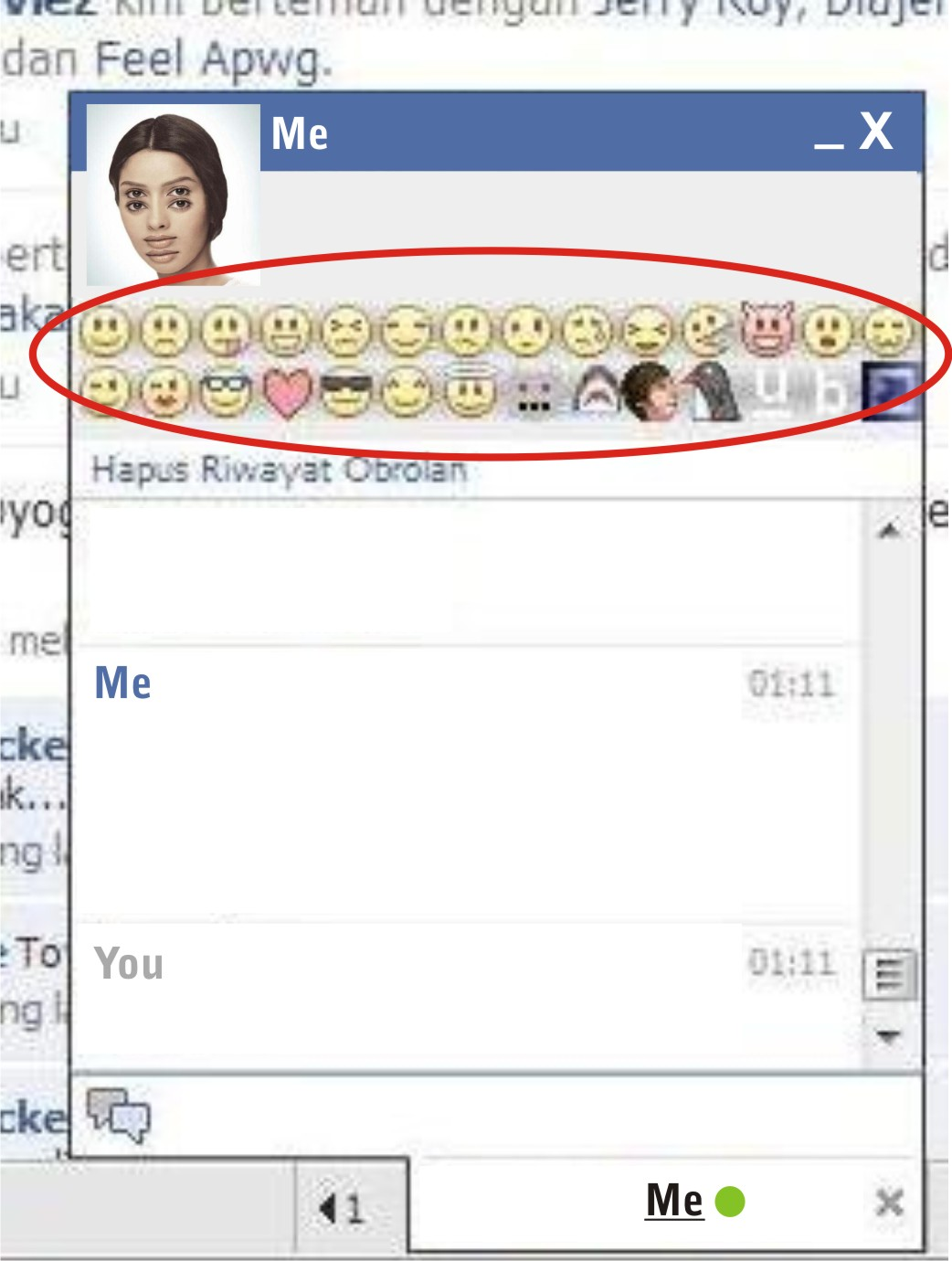 Kode emoticon di chat fb
