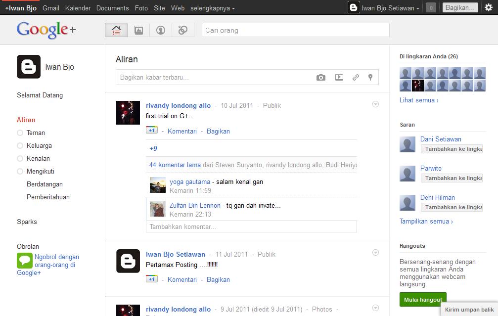 Screenshoot tampilan beranda dari Google+